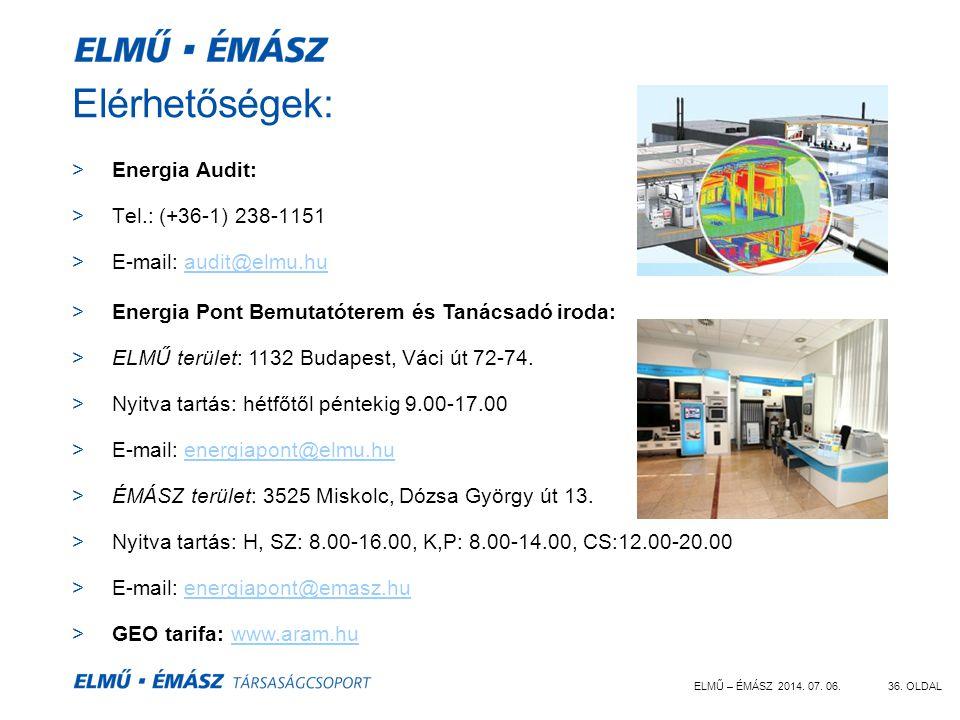ELMŰ – ÉMÁSZ 2014. 07. 06.36. OLDAL Elérhetőségek: >Energia Audit: >Tel.: (+36-1) 238-1151 >E-mail: audit@elmu.huaudit@elmu.hu >Energia Pont Bemutatót