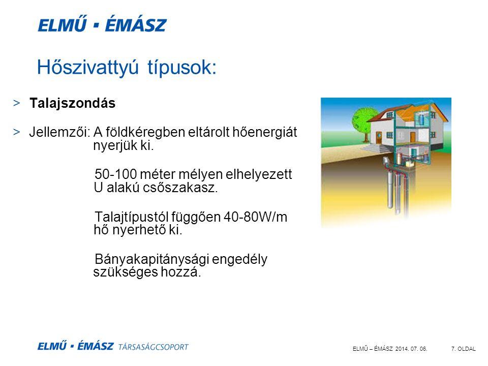 ELMŰ – ÉMÁSZ 2014. 07. 06.7. OLDAL Hőszivattyú típusok: >Talajszondás >Jellemzői: A földkéregben eltárolt hőenergiát nyerjük ki. 50-100 méter mélyen e