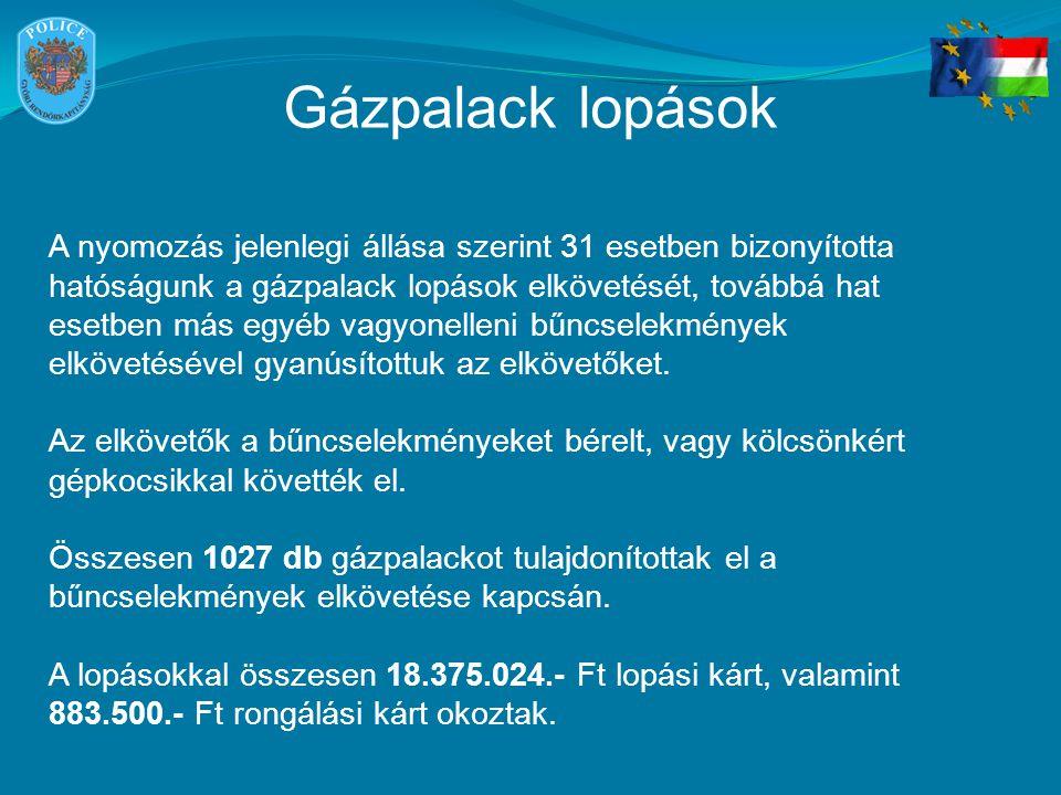 Gázpalack lopások A nyomozás jelenlegi állása szerint 31 esetben bizonyította hatóságunk a gázpalack lopások elkövetését, továbbá hat esetben más egyé