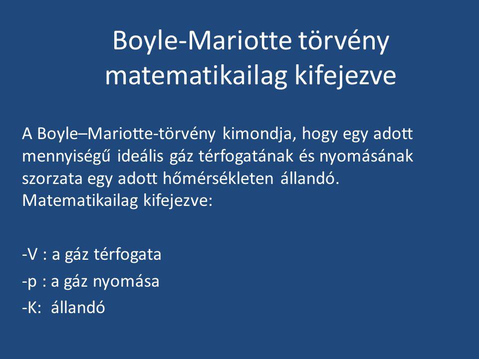 Boyle-Mariotte törvény matematikailag kifejezve A Boyle–Mariotte-törvény kimondja, hogy egy adott mennyiségű ideális gáz térfogatának és nyomásának sz