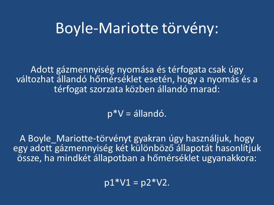 Boyle-Mariotte törvény: Adott gázmennyiség nyomása és térfogata csak úgy változhat állandó hőmérséklet esetén, hogy a nyomás és a térfogat szorzata kö