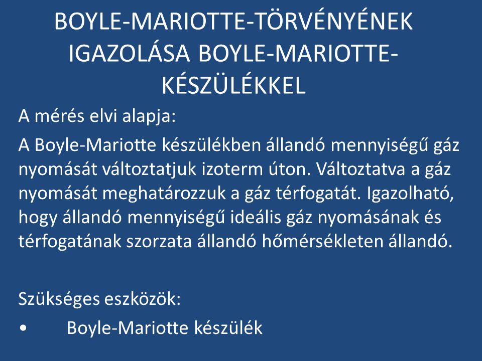 BOYLE-MARIOTTE-TÖRVÉNYÉNEK IGAZOLÁSA BOYLE-MARIOTTE- KÉSZÜLÉKKEL A mérés elvi alapja: A Boyle-Mariotte készülékben állandó mennyiségű gáz nyomását vál