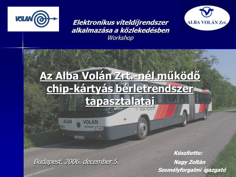 Elektronikus viteldíjrendszer alkalmazása a közlekedésben Workshop Az Alba Volán Zrt.-nél működő chip-kártyás bérletrendszer tapasztalatai Készítette: