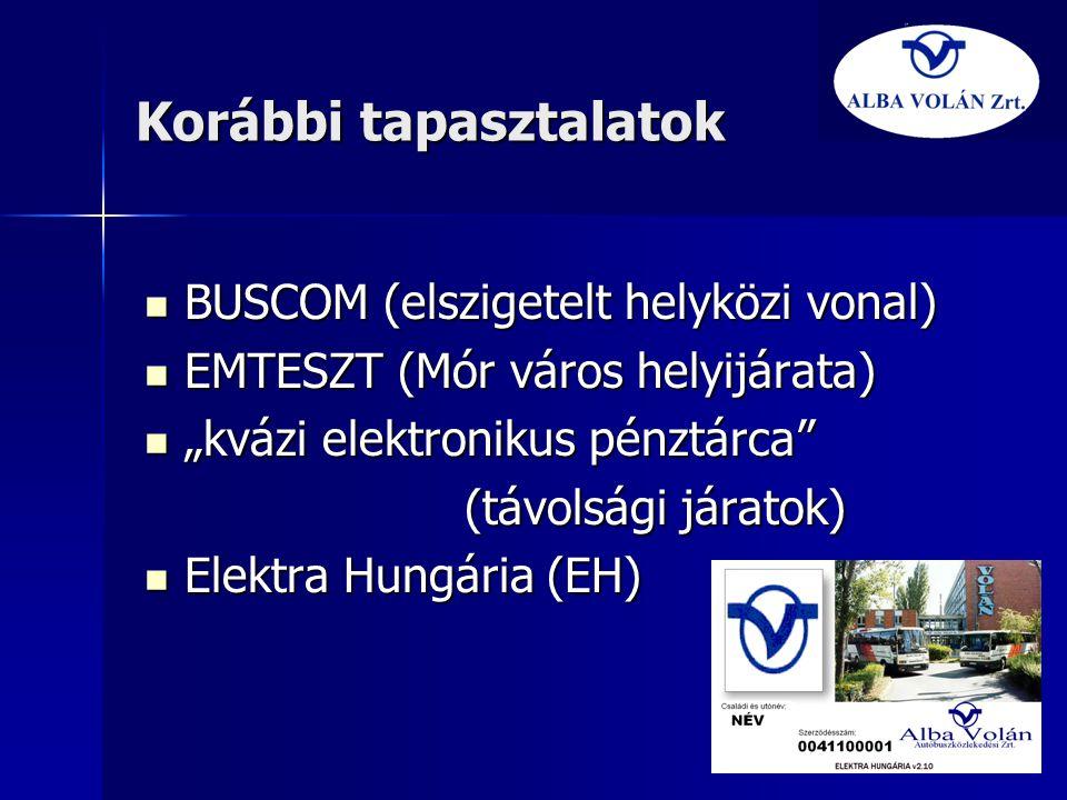 """Korábbi tapasztalatok  BUSCOM (elszigetelt helyközi vonal)  EMTESZT (Mór város helyijárata)  """"kvázi elektronikus pénztárca"""" (távolsági járatok)  E"""