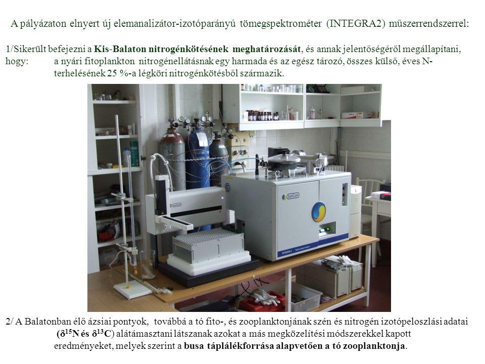 A pályázaton elnyert új elemanalizátor-izotóparányú tömegspektrométer (INTEGRA2) műszerrendszerrel: 1/Sikerült befejezni a Kis-Balaton nitrogénkötésén