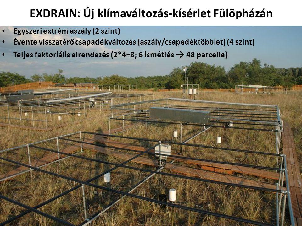 EXDRAIN: Új klímaváltozás-kísérlet Fülöpházán • Egyszeri extrém aszály (2 szint) • Évente visszatérő csapadékváltozás (aszály/csapadéktöbblet) (4 szin