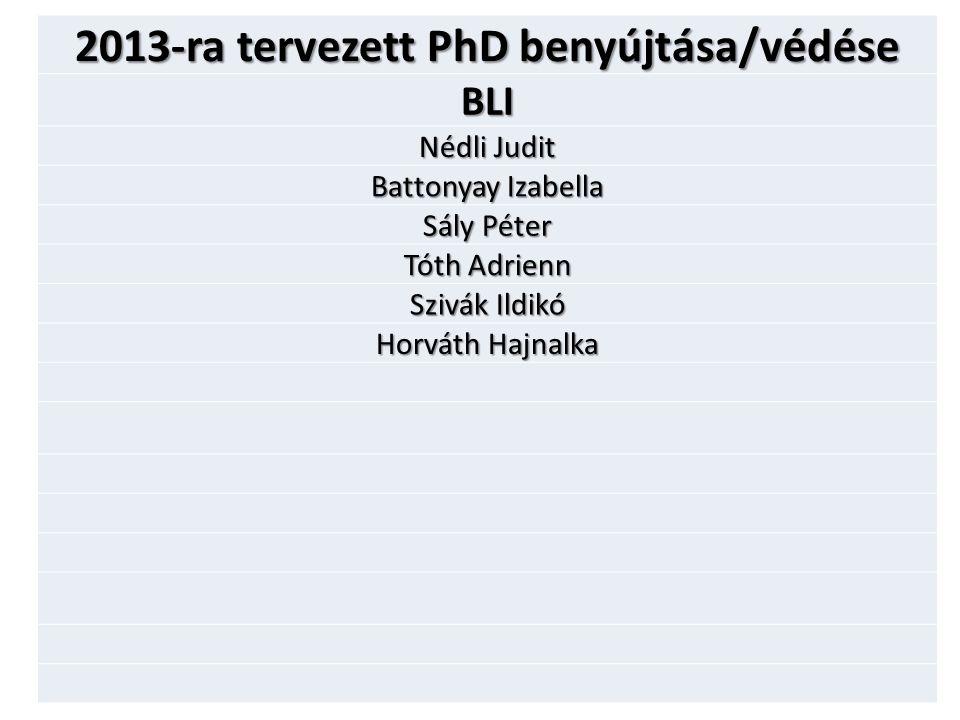 2013-ra tervezett PhD benyújtása/védése BLI Nédli Judit Battonyay Izabella Sály Péter Tóth Adrienn Szivák Ildikó Horváth Hajnalka
