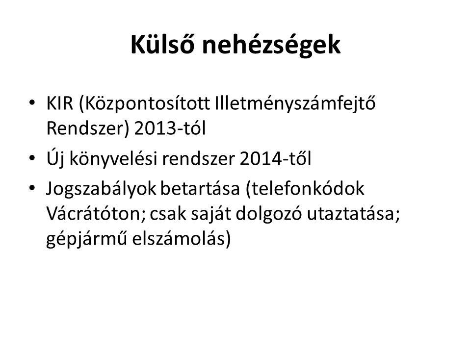 Külső nehézségek • KIR (Központosított Illetményszámfejtő Rendszer) 2013-tól • Új könyvelési rendszer 2014-től • Jogszabályok betartása (telefonkódok