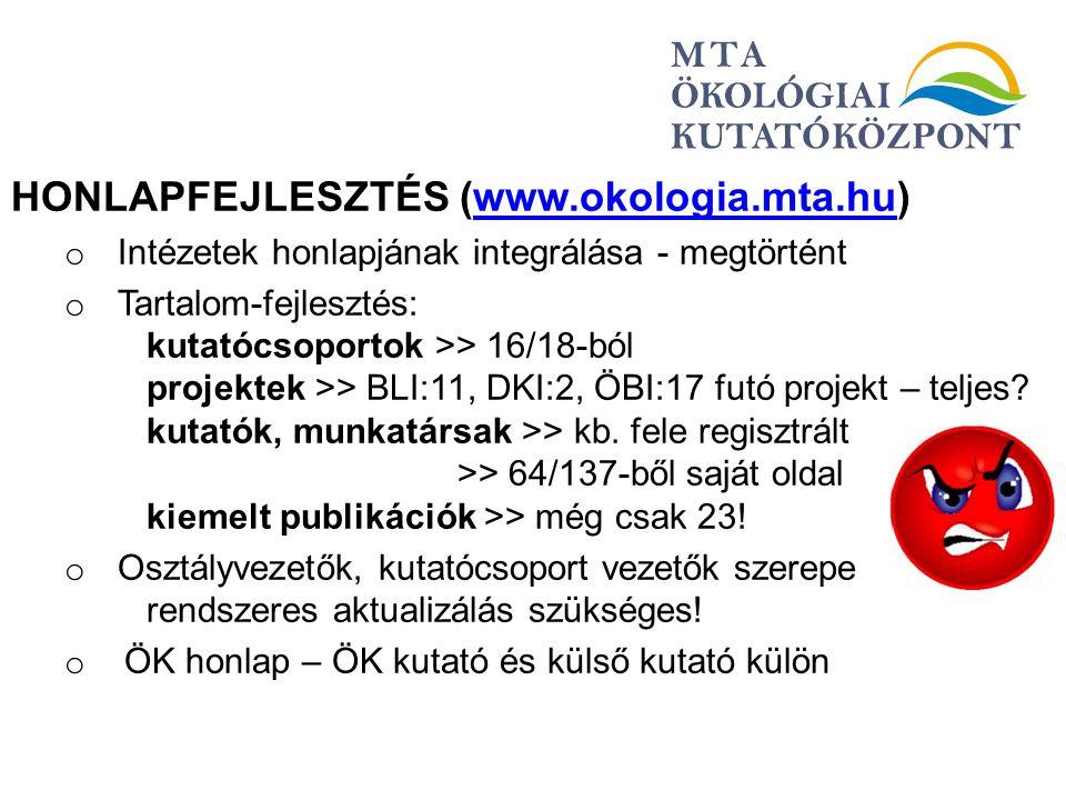 HONLAPFEJLESZTÉS (www.okologia.mta.hu)www.okologia.mta.hu o Intézetek honlapjának integrálása - megtörtént o Tartalom-fejlesztés: kutatócsoportok >> 1