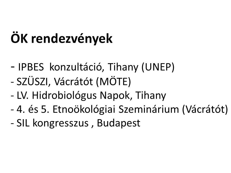 ÖK rendezvények - IPBES konzultáció, Tihany (UNEP) - SZÜSZI, Vácrátót (MÖTE) - LV. Hidrobiológus Napok, Tihany - 4. és 5. Etnoökológiai Szeminárium (V