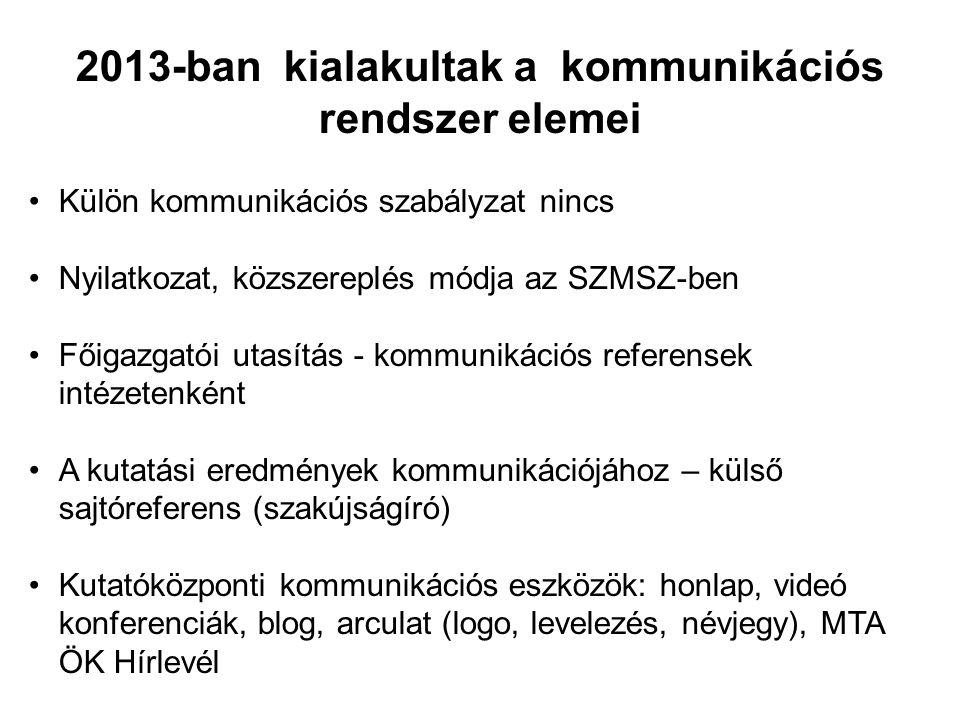 2013-ban kialakultak a kommunikációs rendszer elemei •Külön kommunikációs szabályzat nincs •Nyilatkozat, közszereplés módja az SZMSZ-ben •Főigazgatói