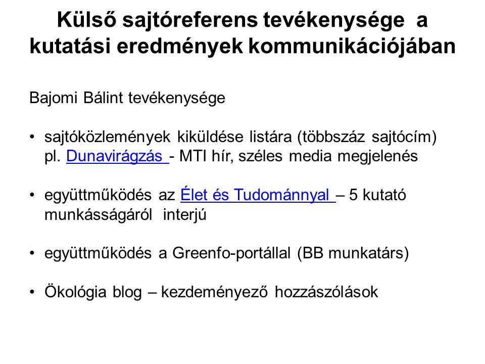 Külső sajtóreferens tevékenysége a kutatási eredmények kommunikációjában Bajomi Bálint tevékenysége •sajtóközlemények kiküldése listára (többszáz sajt