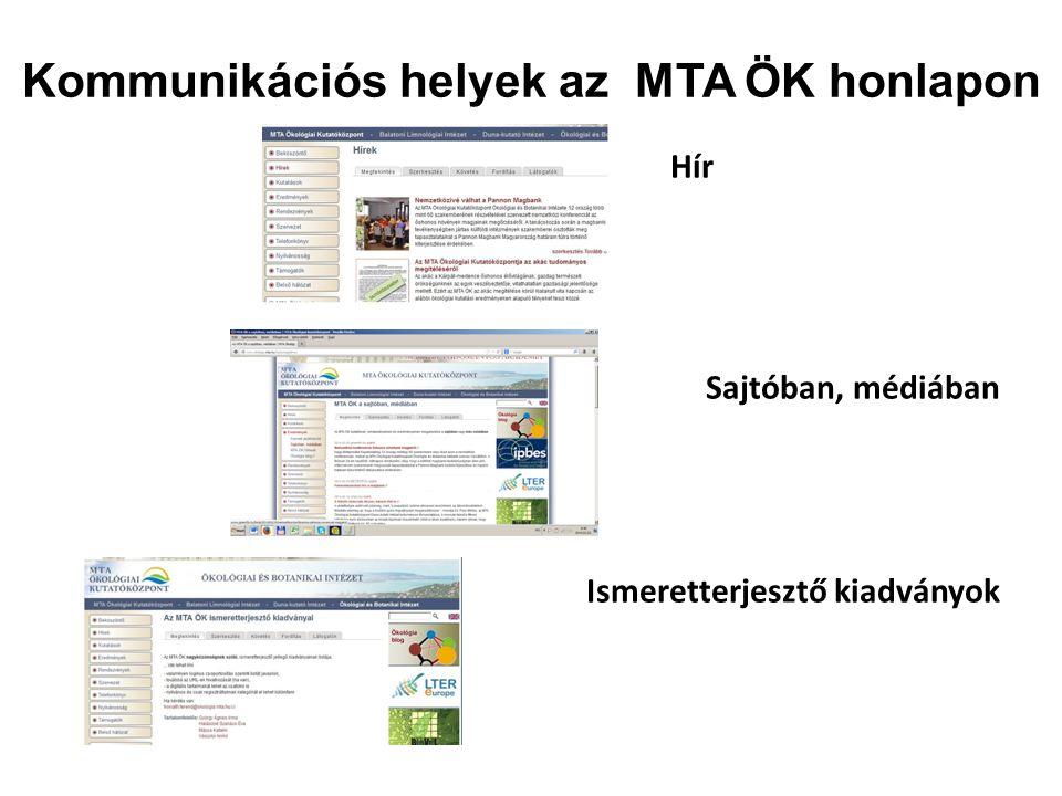 Kommunikációs helyek az MTA ÖK honlapon Hír Sajtóban, médiában Ismeretterjesztő kiadványok