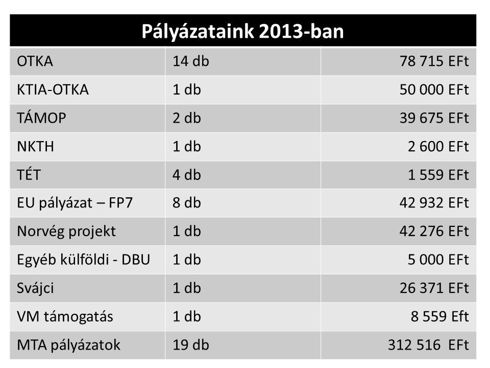 Pályázataink 2013-ban OTKA14 db78 715 EFt KTIA-OTKA1 db50 000 EFt TÁMOP2 db39 675 EFt NKTH1 db2 600 EFt TÉT4 db1 559 EFt EU pályázat – FP78 db42 932 E