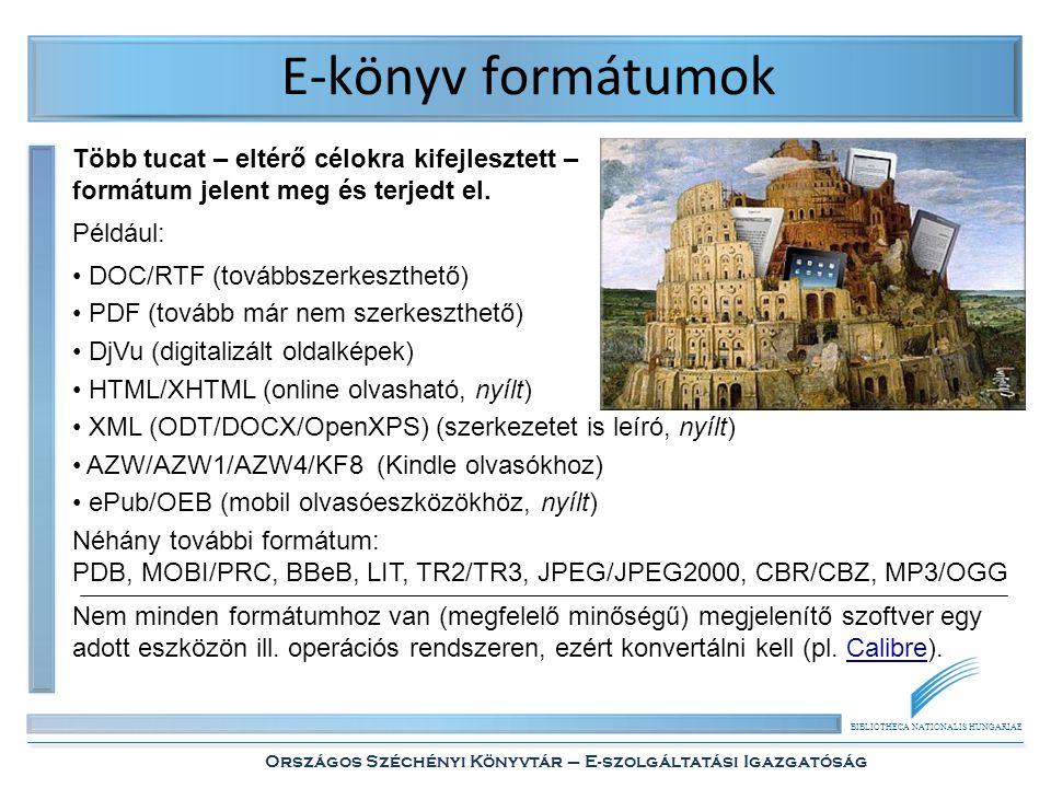 BIBLIOTHECA NATIONALIS HUNGARIAE Országos Széchényi Könyvtár – E-szolgáltatási Igazgatóság E-könyv formátumok Több tucat – eltérő célokra kifejlesztett – formátum jelent meg és terjedt el.