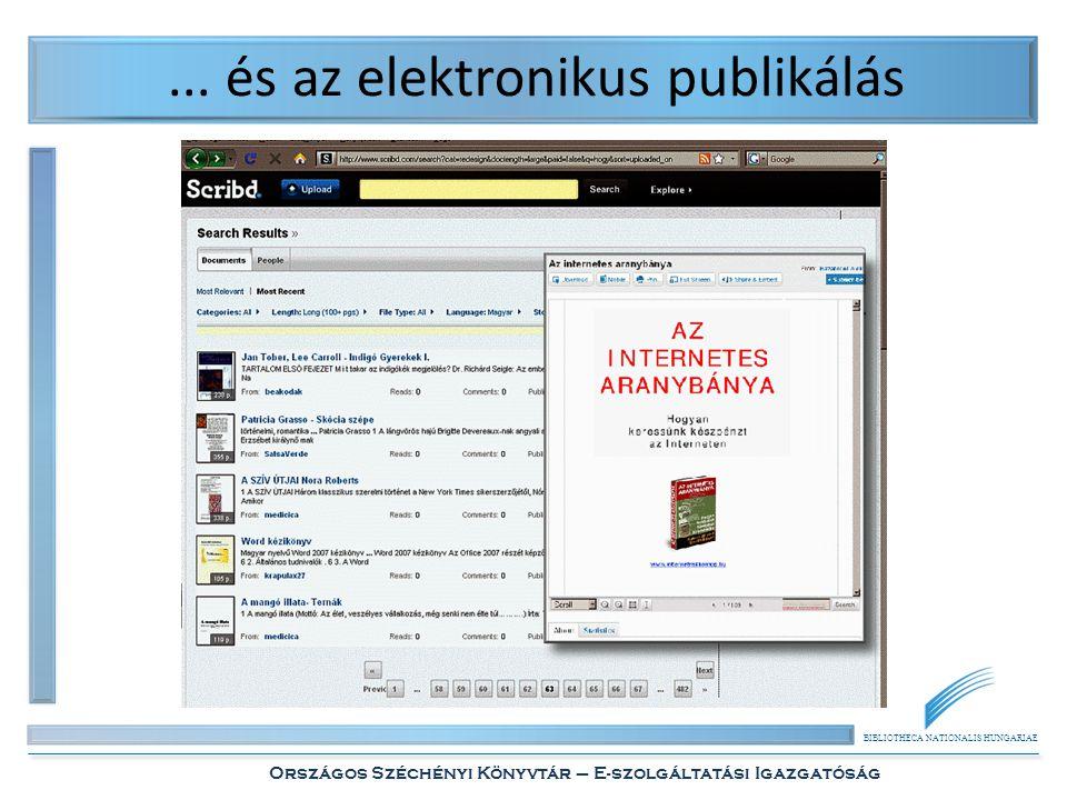 BIBLIOTHECA NATIONALIS HUNGARIAE Országos Széchényi Könyvtár – E-szolgáltatási Igazgatóság... és az elektronikus publikálás