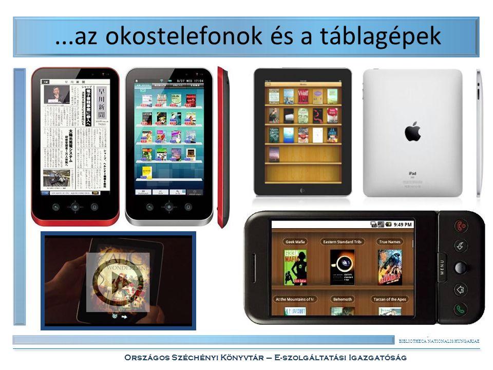 """BIBLIOTHECA NATIONALIS HUNGARIAE Országos Széchényi Könyvtár – E-szolgáltatási Igazgatóság Az """"e-könyv meghatározása Tágabb értelemben: • valamilyen papírkönyv-műfajt utánzó/helyettesítő digitális objektum vagy szolgáltatás, • például: képként digitalizált nyomtatott könyv, online szótár/lexikon, hangoskönyv, képregény, interaktív multimédia alkalmazás."""