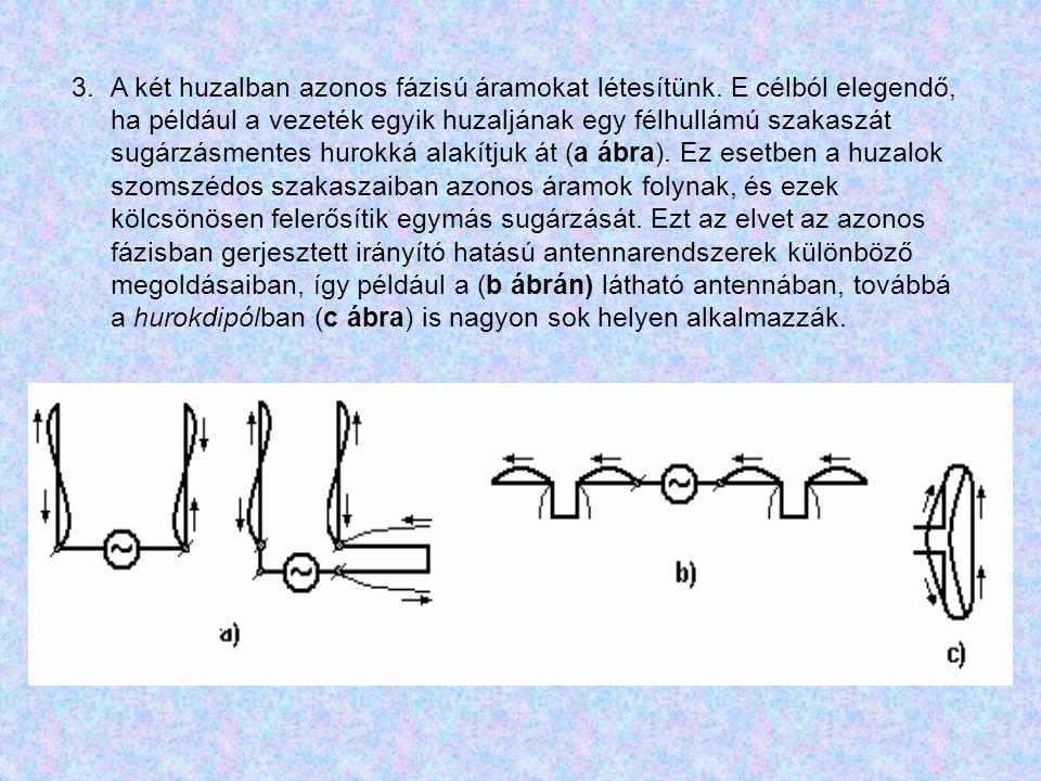 3.A két huzalban azonos fázisú áramokat létesítünk. E célból elegendő, ha például a vezeték egyik huzaljának egy félhullámú szakaszát sugárzásmentes h