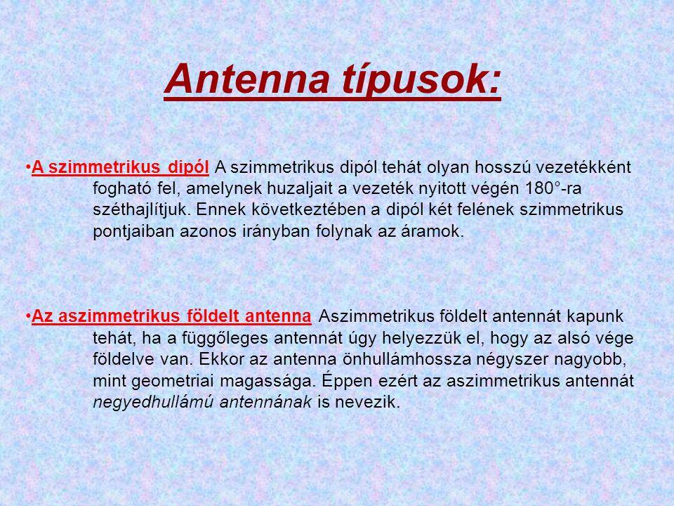 Antenna típusok: •A szimmetrikus dipól A szimmetrikus dipól tehát olyan hosszú vezetékként fogható fel, amelynek huzaljait a vezeték nyitott végén 180