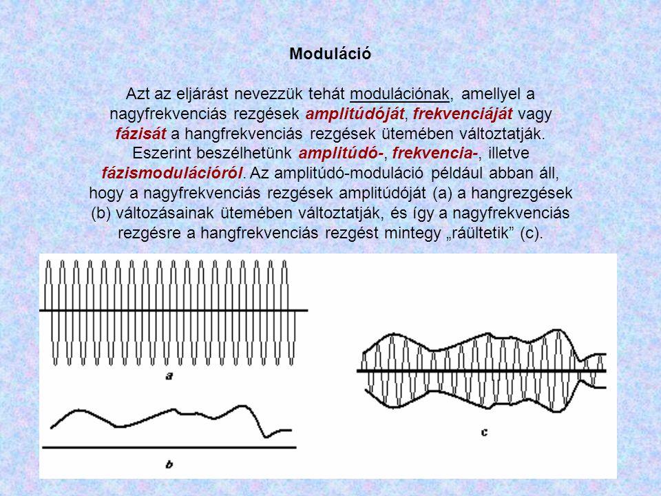 Moduláció Azt az eljárást nevezzük tehát modulációnak, amellyel a nagyfrekvenciás rezgések amplitúdóját, frekvenciáját vagy fázisát a hangfrekvenciás