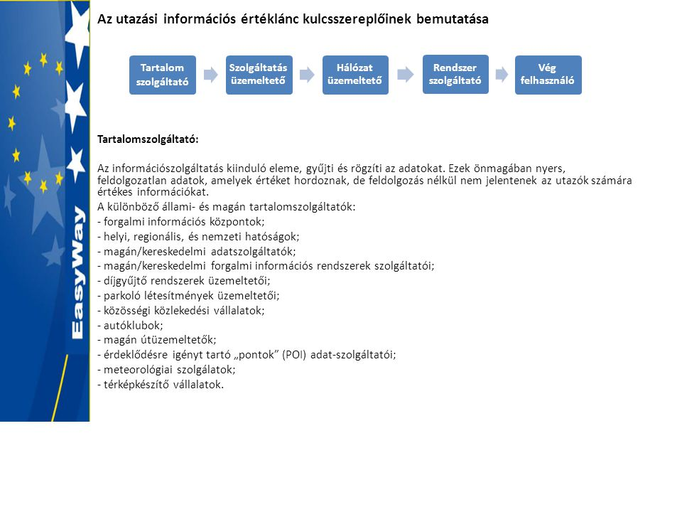 Az utazási információs értéklánc kulcsszereplőinek bemutatása Tartalomszolgáltató: Az információszolgáltatás kiinduló eleme, gyűjti és rögzíti az adat
