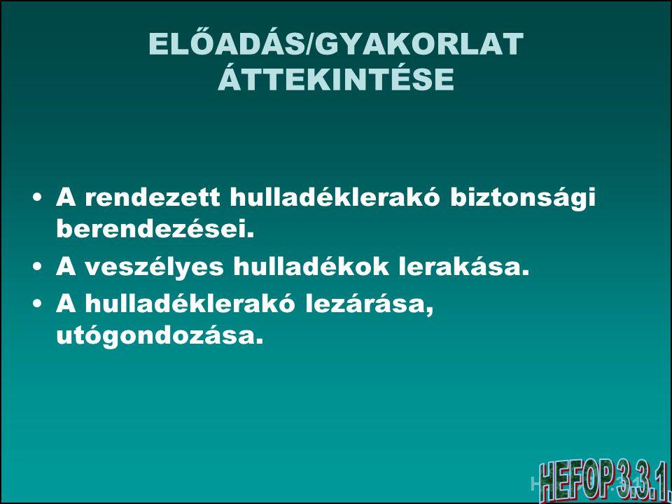 HEFOP 3.3.1.ELŐADÁS/GYAKORLAT Felhasznált forrásai •Barótfi István: Környezettechnika.