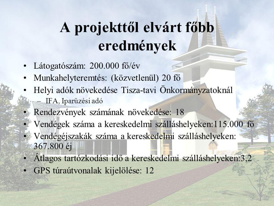 A projekttől elvárt főbb eredmények •Látogatószám: 200.000 fő/év •Munkahelyteremtés: (közvetlenül) 20 fő •Helyi adók növekedése Tisza-tavi Önkormányza