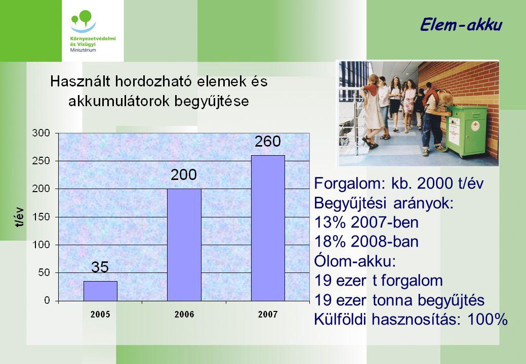 Elem-akku Célkitűzések  Hordozható elemek és akkumulátorok esetében a 2006/66/EK irányelv visszagyűjtési kötelezettséget ír elő, 2012-re 25%-ot, míg 2016-ra 45%-ot.