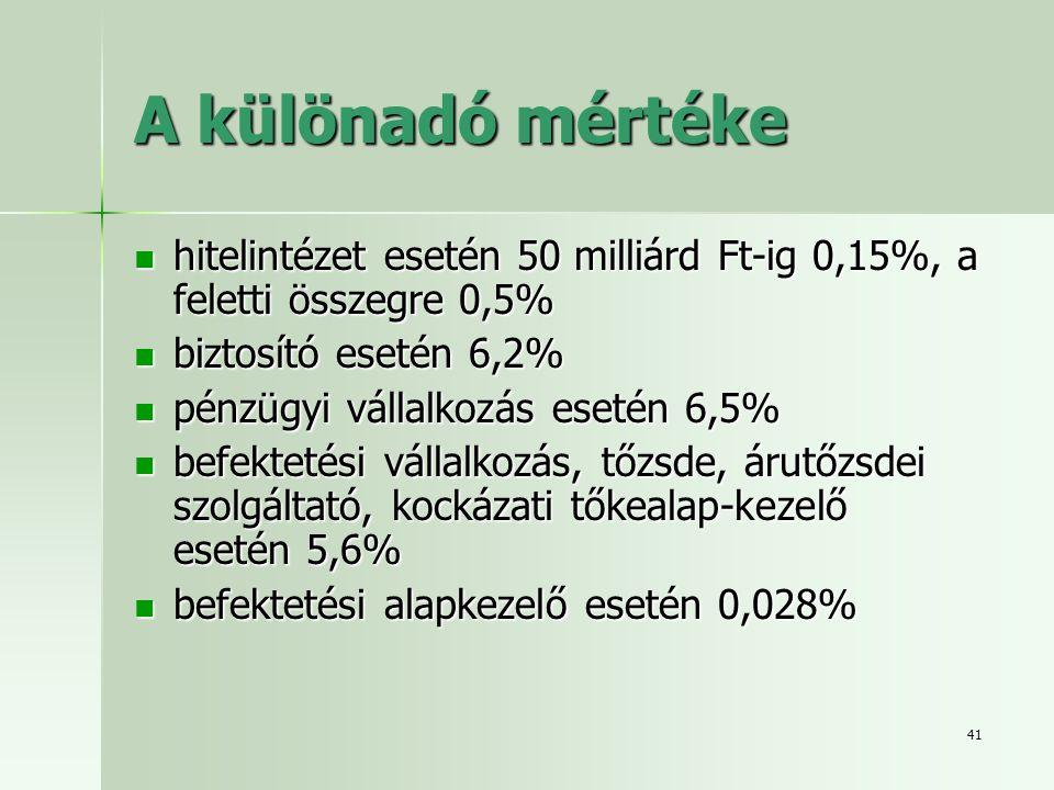 41 A különadó mértéke  hitelintézet esetén 50 milliárd Ft-ig 0,15%, a feletti összegre 0,5%  biztosító esetén 6,2%  pénzügyi vállalkozás esetén 6,5