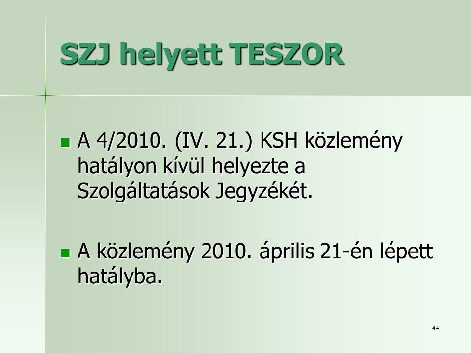 44 SZJ helyett TESZOR  A 4/2010. (IV. 21.) KSH közlemény hatályon kívül helyezte a Szolgáltatások Jegyzékét.  A közlemény 2010. április 21-én lépett