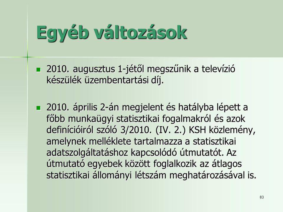 83 Egyéb változások  2010. augusztus 1-jétől megszűnik a televízió készülék üzembentartási díj.  2010. április 2-án megjelent és hatályba lépett a f
