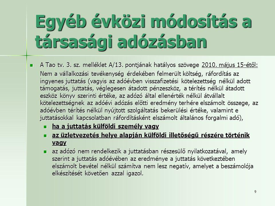 9 Egyéb évközi módosítás a társasági adózásban  A Tao tv. 3. sz. melléklet A/13. pontjának hatályos szövege 2010. május 15-étől: Nem a vállalkozási t