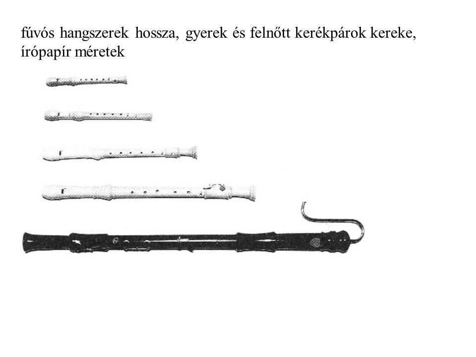 fúvós hangszerek hossza, gyerek és felnőtt kerékpárok kereke, írópapír méretek