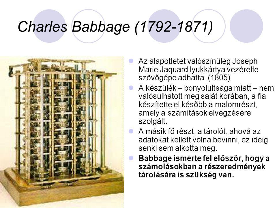  Az alapötletet valószínűleg Joseph Marie Jaquard lyukkártya vezérelte szövőgépe adhatta.