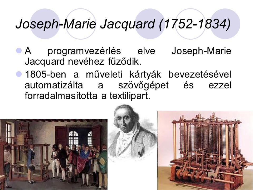 Joseph-Marie Jacquard (1752-1834)  A programvezérlés elve Joseph-Marie Jacquard nevéhez fűződik.