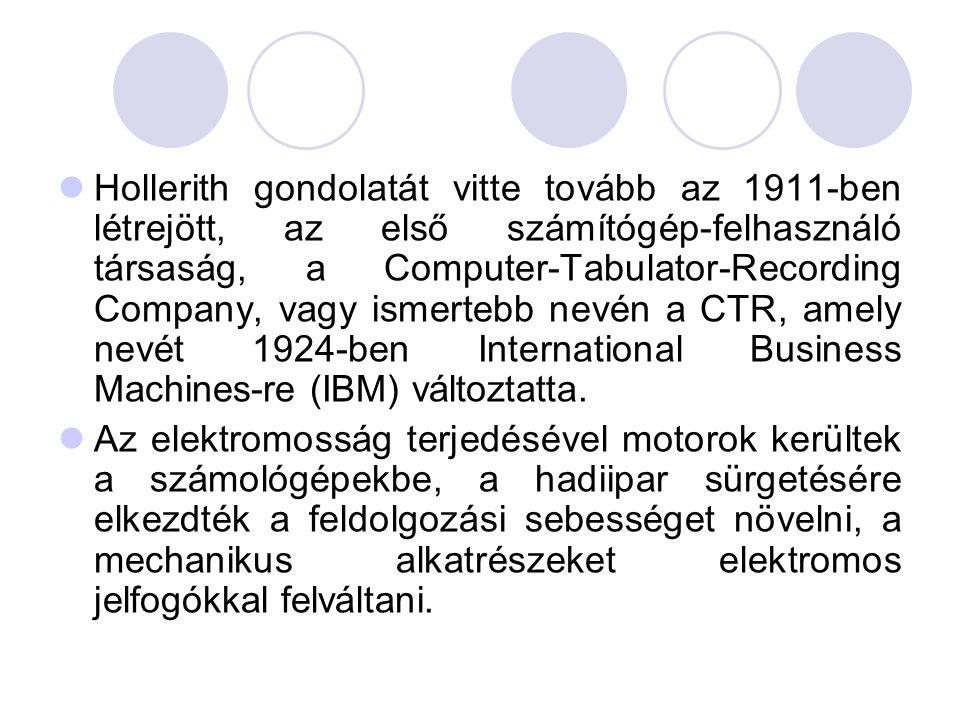  Hollerith gondolatát vitte tovább az 1911-ben létrejött, az első számítógép-felhasználó társaság, a Computer-Tabulator-Recording Company, vagy ismertebb nevén a CTR, amely nevét 1924-ben International Business Machines-re (IBM) változtatta.