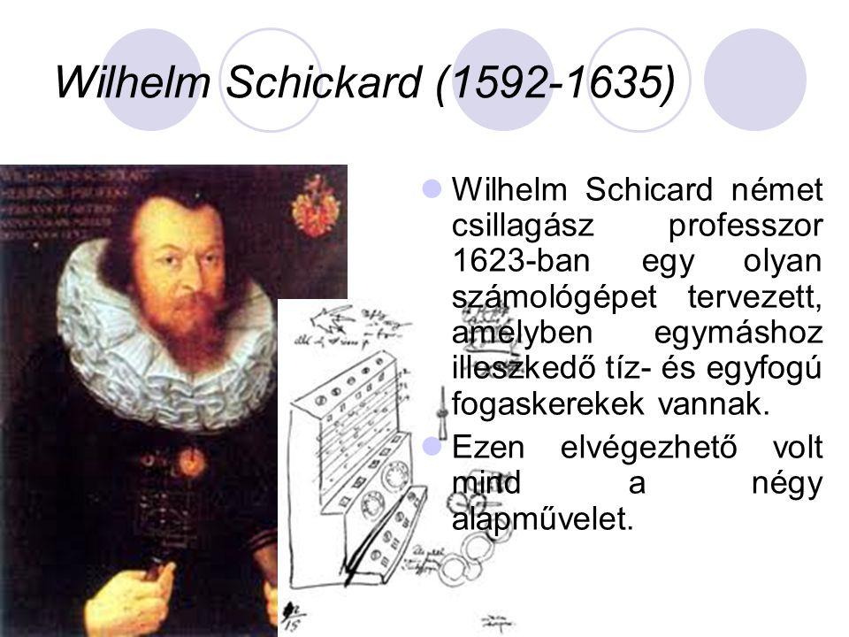 Wilhelm Schickard (1592-1635)  Wilhelm Schicard német csillagász professzor 1623-ban egy olyan számológépet tervezett, amelyben egymáshoz illeszkedő tíz- és egyfogú fogaskerekek vannak.