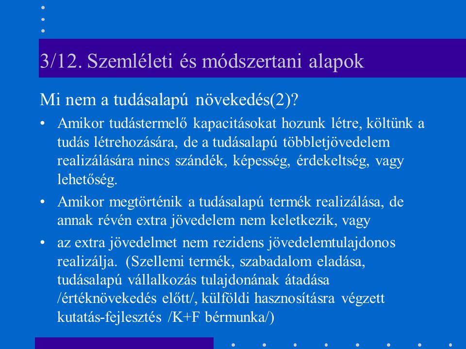 3/12. Szemléleti és módszertani alapok Mi nem a tudásalapú növekedés(2).