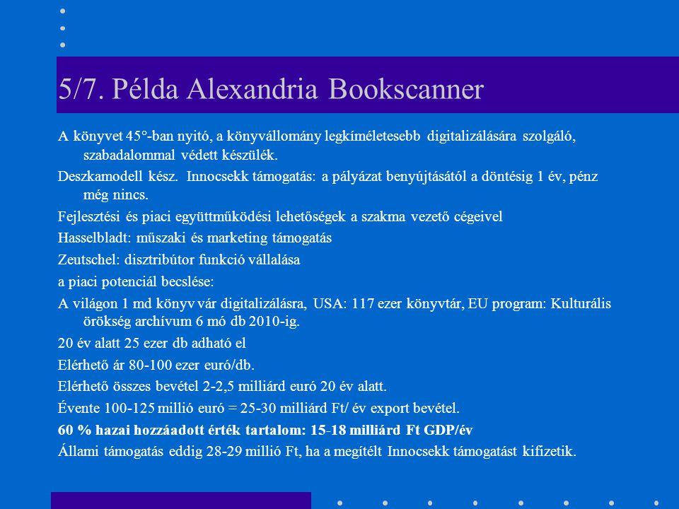 5/7. Példa Alexandria Bookscanner A könyvet 45°-ban nyitó, a könyvállomány legkíméletesebb digitalizálására szolgáló, szabadalommal védett készülék. D