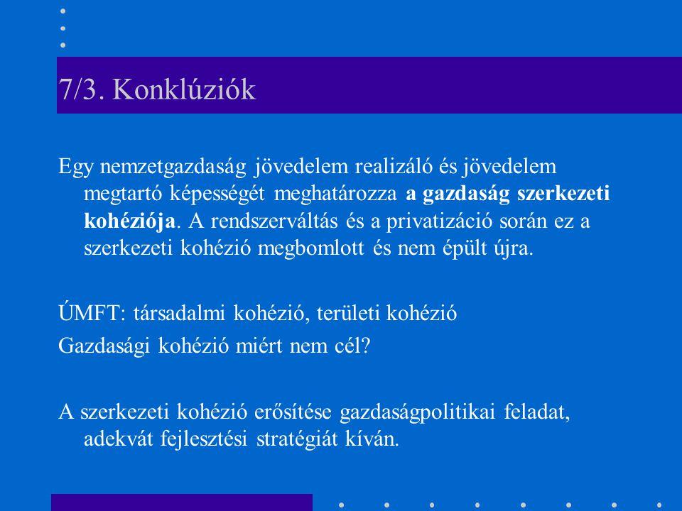 7/3. Konklúziók Egy nemzetgazdaság jövedelem realizáló és jövedelem megtartó képességét meghatározza a gazdaság szerkezeti kohéziója. A rendszerváltás
