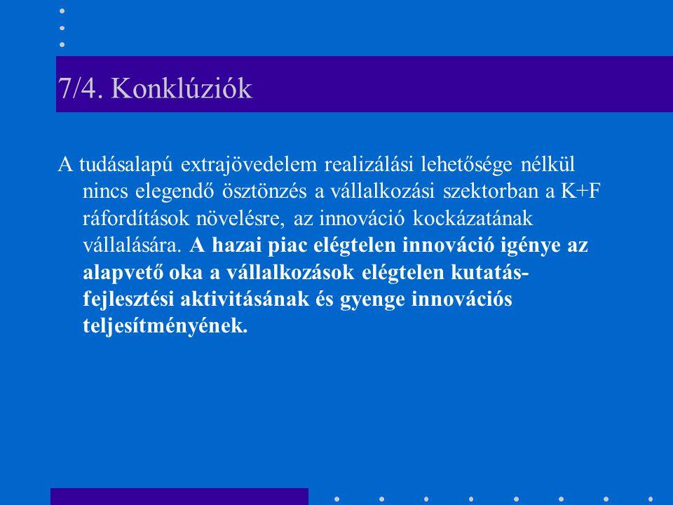 7/4. Konklúziók A tudásalapú extrajövedelem realizálási lehetősége nélkül nincs elegendő ösztönzés a vállalkozási szektorban a K+F ráfordítások növelé