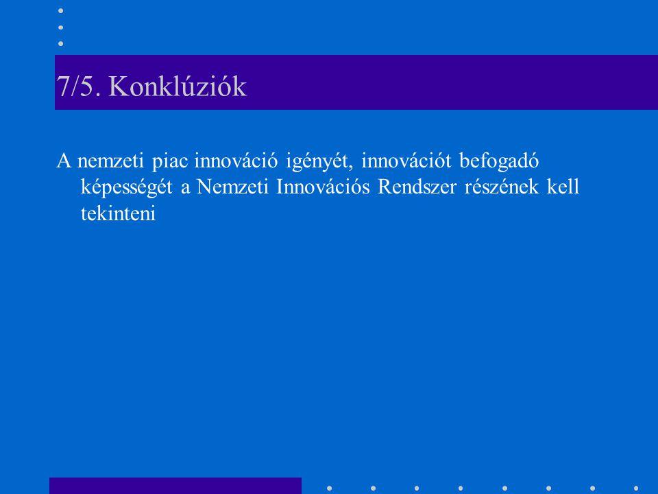 7/5. Konklúziók A nemzeti piac innováció igényét, innovációt befogadó képességét a Nemzeti Innovációs Rendszer részének kell tekinteni