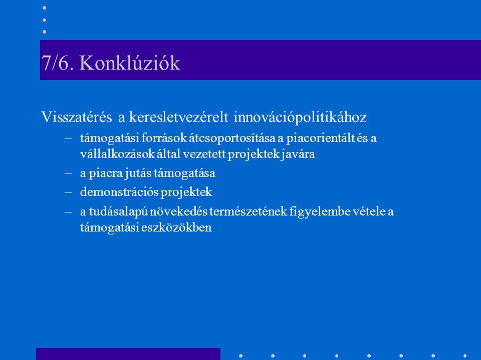 7/6. Konklúziók Visszatérés a keresletvezérelt innovációpolitikához –támogatási források átcsoportosítása a piacorientált és a vállalkozások által vez