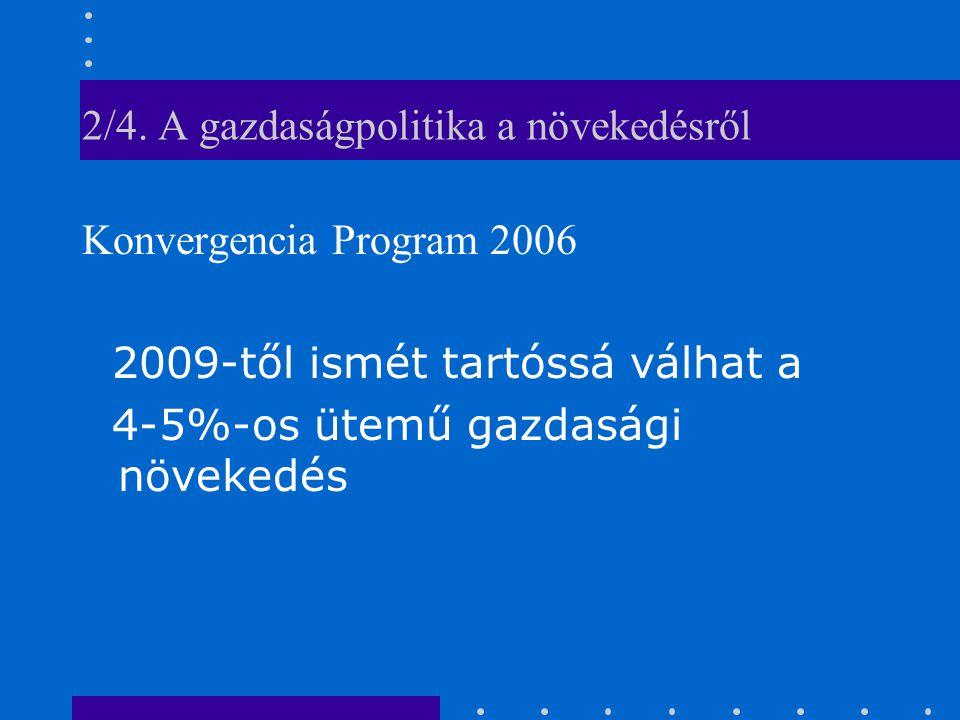 2/4. A gazdaságpolitika a növekedésről Konvergencia Program 2006 2009-től ismét tartóssá válhat a 4-5%-os ütemű gazdasági növekedés