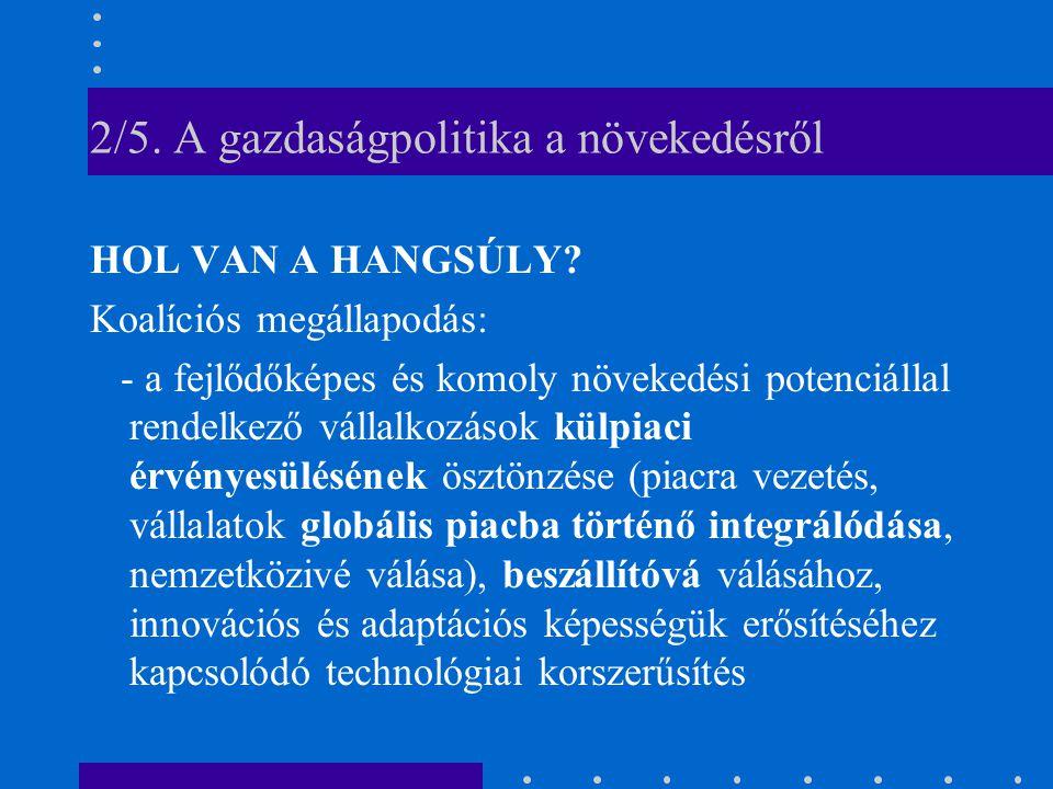 2/5. A gazdaságpolitika a növekedésről HOL VAN A HANGSÚLY.
