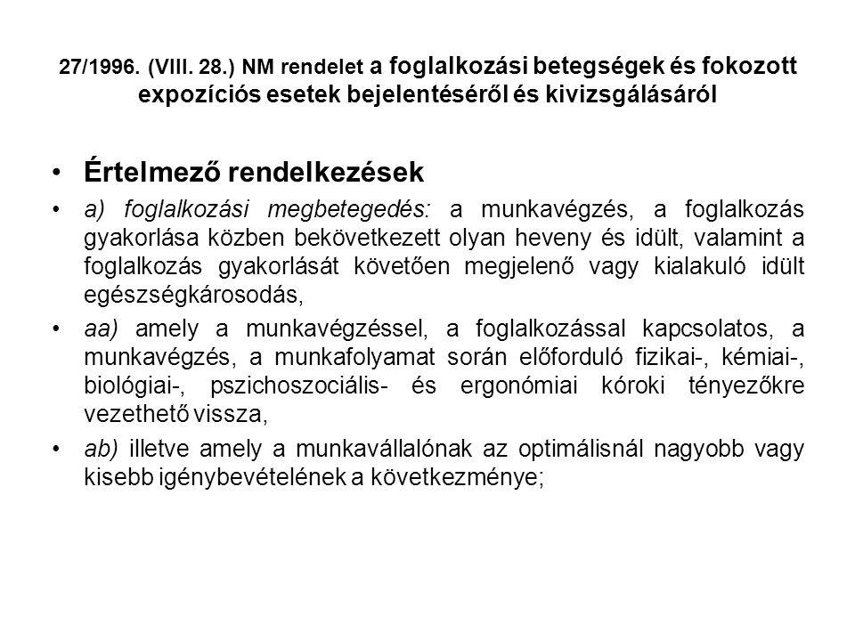 27/1996. (VIII. 28.) NM rendelet a foglalkozási betegségek és fokozott expozíciós esetek bejelentéséről és kivizsgálásáról •Értelmező rendelkezések •a