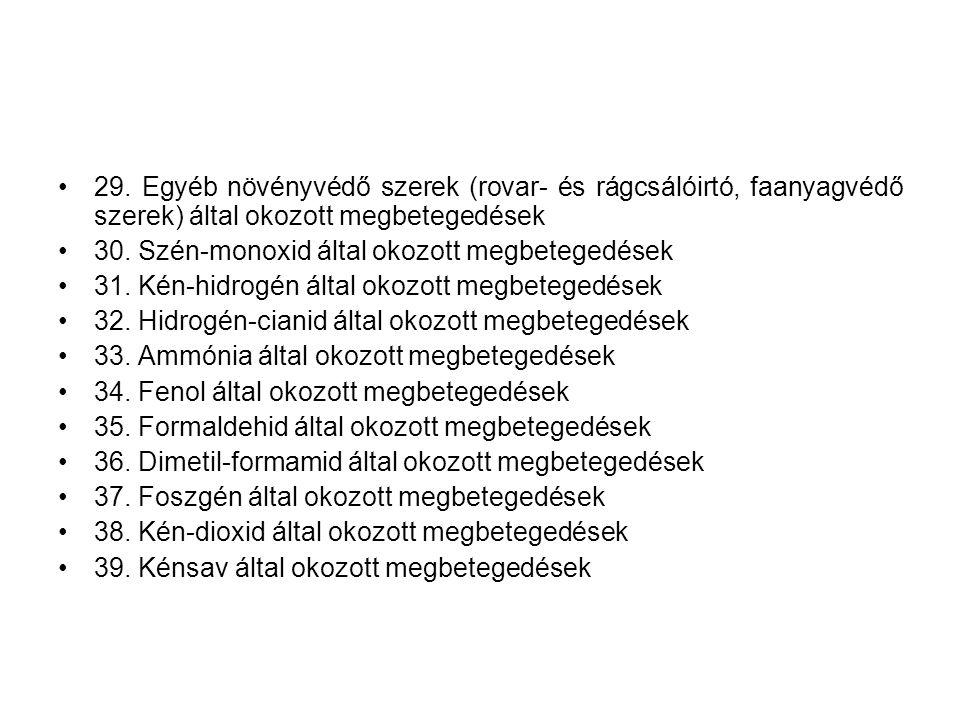 •29. Egyéb növényvédő szerek (rovar- és rágcsálóirtó, faanyagvédő szerek) által okozott megbetegedések •30. Szén-monoxid által okozott megbetegedések