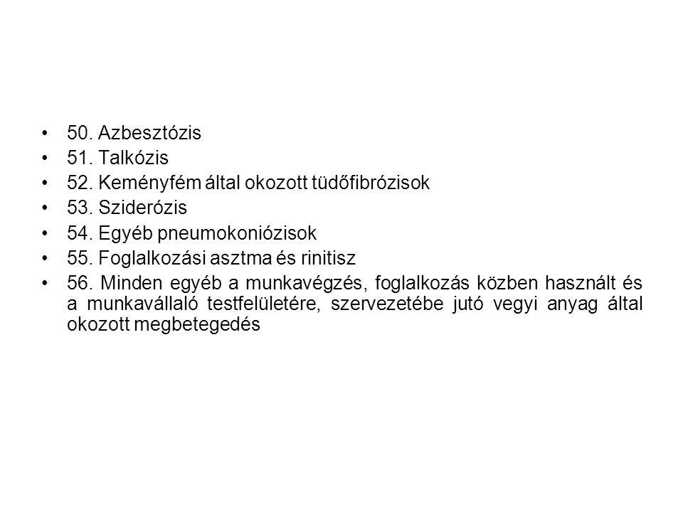 •50. Azbesztózis •51. Talkózis •52. Keményfém által okozott tüdőfibrózisok •53. Sziderózis •54. Egyéb pneumokoniózisok •55. Foglalkozási asztma és rin