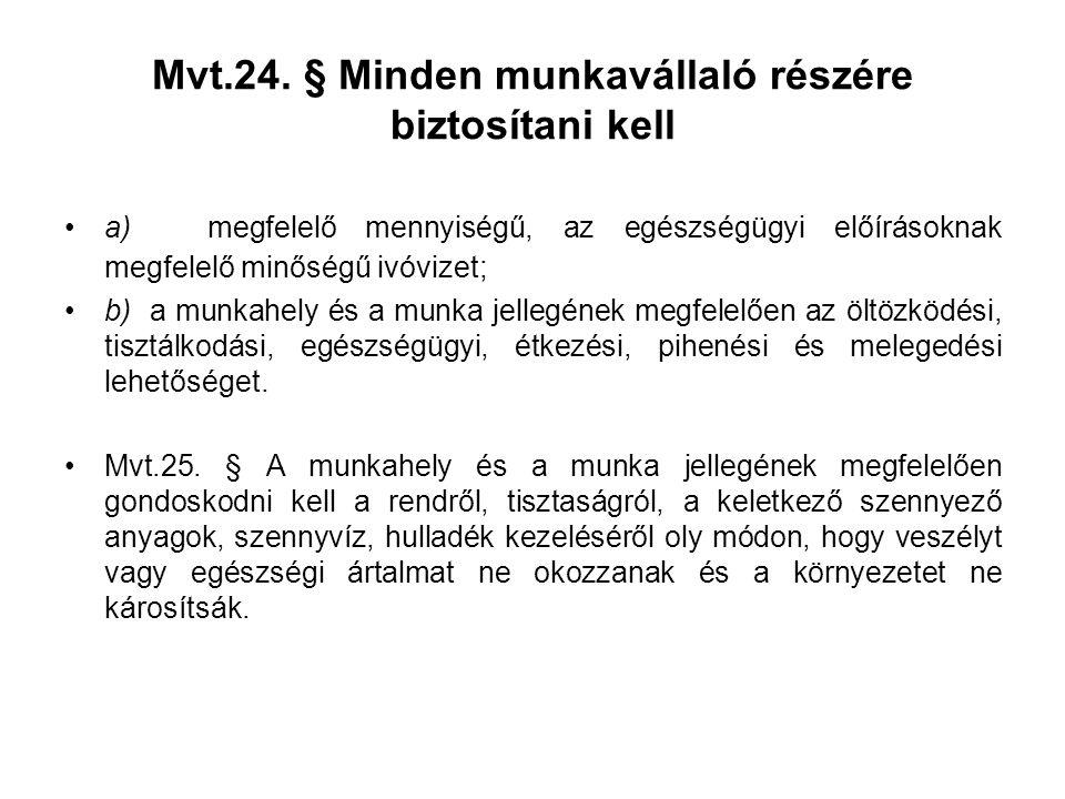 Mvt.24. § Minden munkavállaló részére biztosítani kell •a) megfelelő mennyiségű, az egészségügyi előírásoknak megfelelő minőségű ivóvizet; •b) a munka