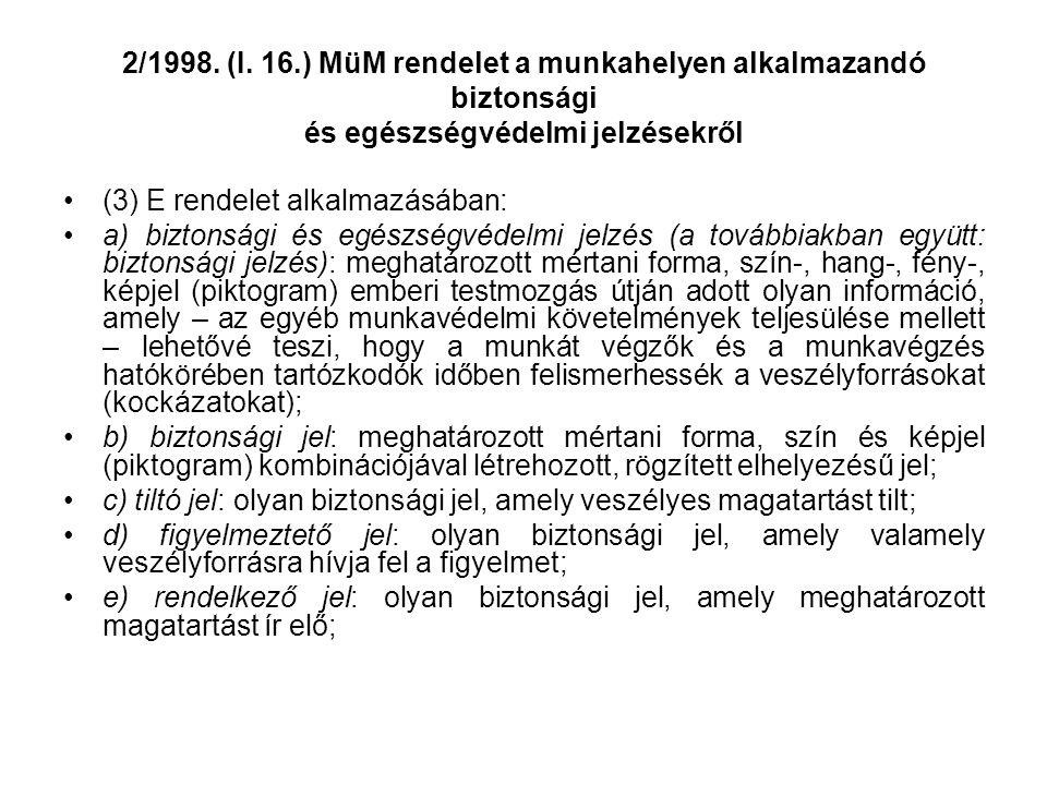 2/1998. (I. 16.) MüM rendelet a munkahelyen alkalmazandó biztonsági és egészségvédelmi jelzésekről •(3) E rendelet alkalmazásában: •a) biztonsági és e